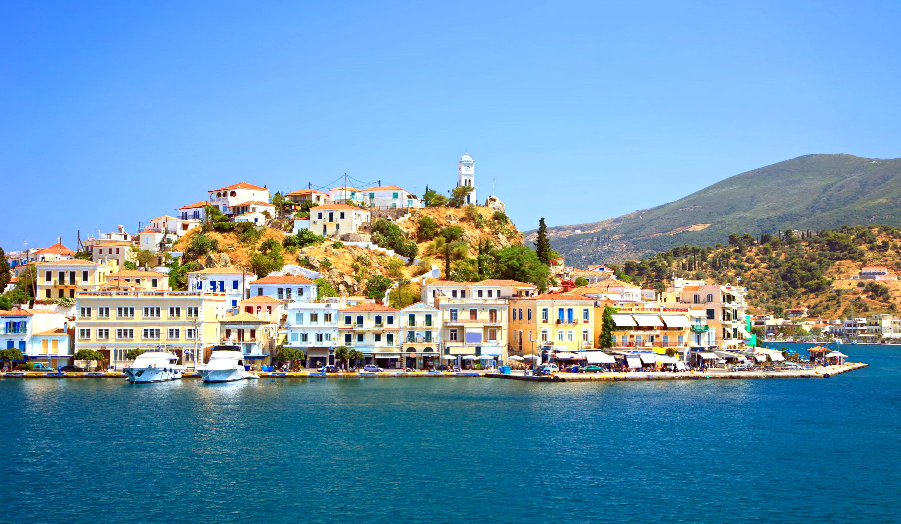 the island of poros view near the sea