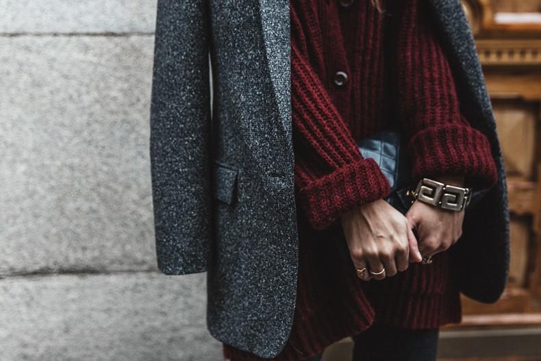 Burgundy Cardigan Oversize Grey Blazer