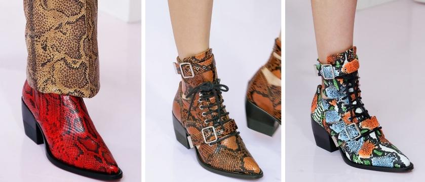 chloe snake print booties spring 2018